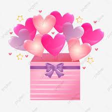 balloon gift box love gift hand drawn