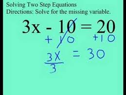 grade 8 2 step equation with mult and