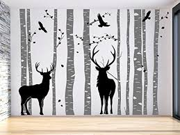 Large Deer Tree Wall Decal Large Tree Wall Sticker Gray Birch Tree Wall Decal Vinyl Family Tree Decal Reindeer Tree Decal Birch Tree Sticker Nursery Decal For Kids And Living Room Baby