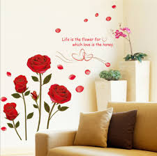 Red Rose Wall Decal Mural Removable Flowers Wall Sticker Vinyl Art Home Decor Us For Sale Online