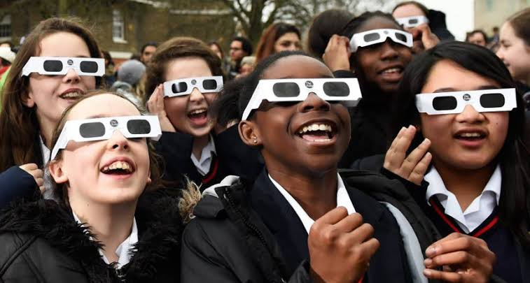 Image result for watching solar eclipse glass