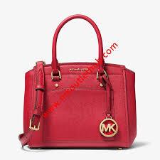 medium saffiano leather satchel red