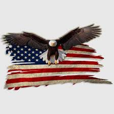 American Flag Bald Eagle Tattered Decal Usa Patriotic Sticker