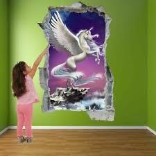 Unicorn Pegasus Fairy Tale Wall Sticker Mural Decal Kids Bedroom Home Decor A8 Ebay