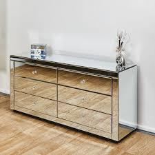 venetian mirrored chest of six drawers
