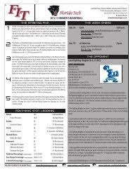 2013 FLORIDA TECH FOOTBALL GAME NOTES