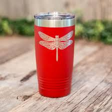 Dragonfly Mandala Engraved Stainless Steel Tumbler Insulated Travel Mug Dragonfly Lover Gift 3c Etching Ltd