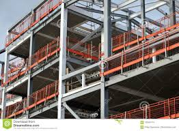Construction Site Of Steel Framed Development With Orange Fence Stock Photo Image Of Framework Light 105020174