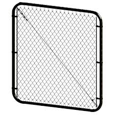 Peak Products 68 Inch W X 4 Ft H Steel Adjustable Chain Link Fence Gate In Black With 2 I The Home Depot Canada