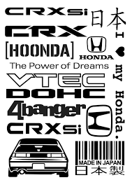 Honda Crx Civic Vinyl Decals Set Honda Crx Honda Vinyl Decal Stickers