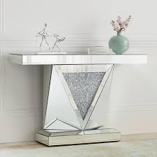 geometric cut mirrored console table