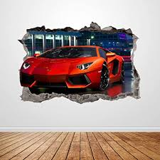 Amazon Com Lamborghini Racing Car Wall Decal Smashed 3d Graphic Wall Sticker Art Mural Poster Custom Vinyl Room Decor Gift Up190 24 W X 16 H Inches Arts Crafts Sewing