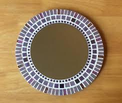 round mosaic wall mirror 30cm purple