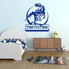 Jurassic Rex Dinosaur Wall Decal Personalized Custom Name Cartoon Door Window Vinyl Stickers Kids Boys Bedroom Home Decor E310 Wall Stickers Aliexpress