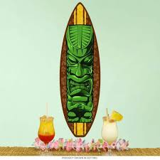 Tiki Statue Surfboard Cut Out Wall Decal At Retro Planet