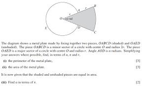 exam questions arcs sectors and