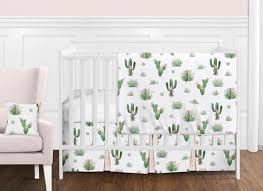 watercolor cactus fl baby girl crib