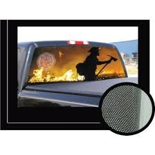 Firefighter Pick Up Truck Suv Rear Window Graphic This Easy To Attach See Through Window Film Featur Truck Window Stickers Rear Window Compact Pickup Trucks