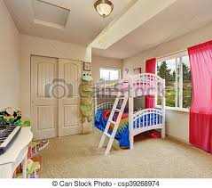 Nice Beige Kids Bedroom With Bunk Bed Nice Beige Kids Bedroom Bunk Bed With Cheerful Bedding And Red Curtains Northwest