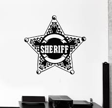 Vinyl Wall Decal Star Law Sheriff Badge Police Boys Room Stickers Mura Wallstickers4you