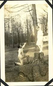 Verna Smith standing on a tree stump | This photo depicts Ve… | Flickr