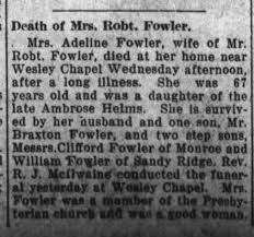 Death of Mrs. Robt. Fowler - Newspapers.com