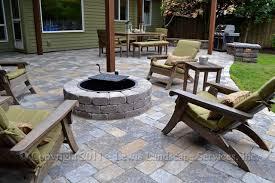 paver patio pergola fire pit seat