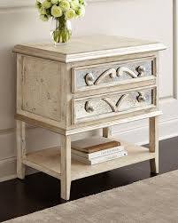 distressed white mirrored accent nightstand