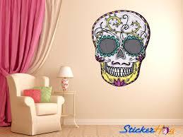 Mexican Sugar Skull Mustache Wall Decal Dia De Los Muertos Art Vinyl Graphics Home Decor