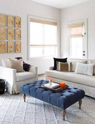 linen sofa and chair with blue tufted