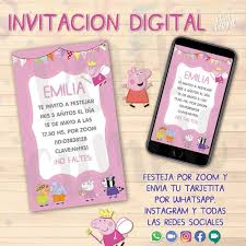 Invitacion Digital Peppa Pig Personalizada Virtual 100 00 En