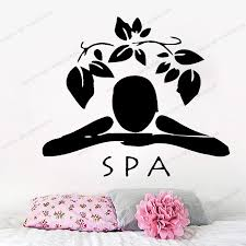 Woman Wall Decals Girl Spa Massage Relax Beauty Salon Floral Design Vinyl Decal Sticker Art Interior Kids Baby Room Decor Yw 642 Wall Stickers Aliexpress
