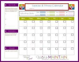 new printable fitness calendar free