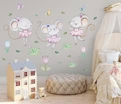 Bunny Wall Decal Girl Ballerina Wall Decal Bunny Nursery Wall Art Bunn Kidscutedecorations