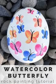 watercolor erfly painted rock