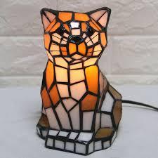 Tiffany Light Cat Model Table Lamp Kids Room