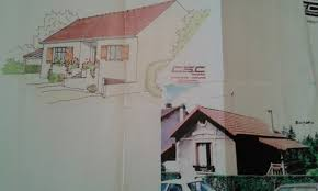 photo ancienne maison et dessin architecte