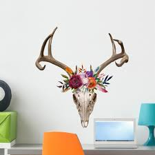 Deer Skull Floral Wall Decal Wallmonkeys Peel And Stick Graphic 24 In H X 24 In W Wm502861 Walmart Com Walmart Com