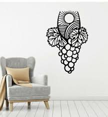 Vinyl Wall Decal Vineyard Bunch Grapes Winemaking Wine Leaves Stickers G2039 Ebay