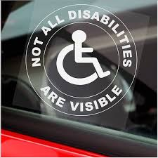 Platinum Place 1 X Not All Disabilities Are Visible Round White Onto Clear Van Truck Bus Disabled Window Sticker Sign Car Badge Blue Holder Warning Notice Driver Passenger Vehicle Taxi Cab Mini Wish