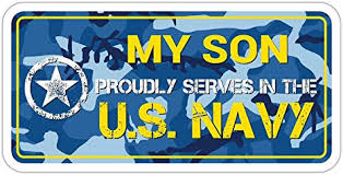 Amazon Com My Son Proudly Serves In The Us Navy U S Vinyl Bumper Sticker Decal 3 X 6 Navy Blue Camouflage