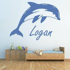 Baby Nursery Wall Sticker Personalised Name Dolphin Vinyl Wall Decal For Bedroom Home Decor Accessories For Living Room Decorative Wall Clings Decorative Wall Decals From Joystickers 10 67 Dhgate Com