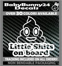 Little Shits On Board Kids Mom Emoji Poops Baby Car Truck Van Vinyl Decal Sticker Poop Decals