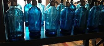 antique blue glass seltzer bottles