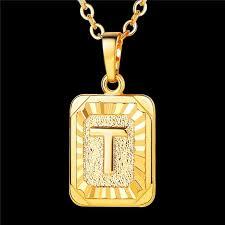 initial pendant necklace letter t
