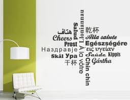 Wall Decal Quotes Cheers Hello Words Sticker Text In Different Languages Wall Decal On Luulla