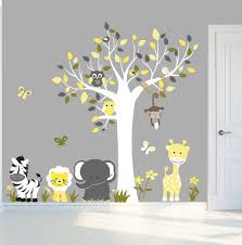 Peel And Stick Decal Yellow And Grey Nursery Wall Decals Etsy