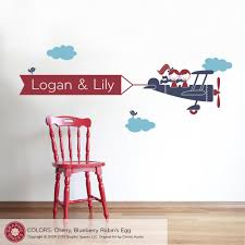 Airplane Nursery Banner Wall Decal 2 Kids Twins Personalized Names Graphic Spaces