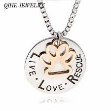 qihe jewelry live love rescue dog paw