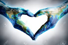 Earth's Day Celebration - Hands Shaped Heart With World Map Stock ...